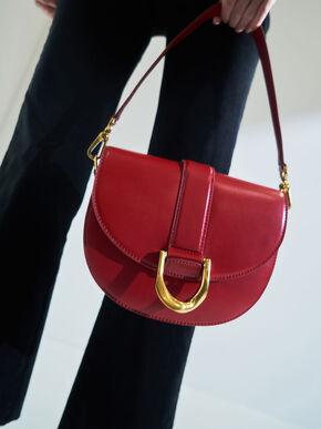 Metallic Buckle Saddle Bag, Red, hi-res