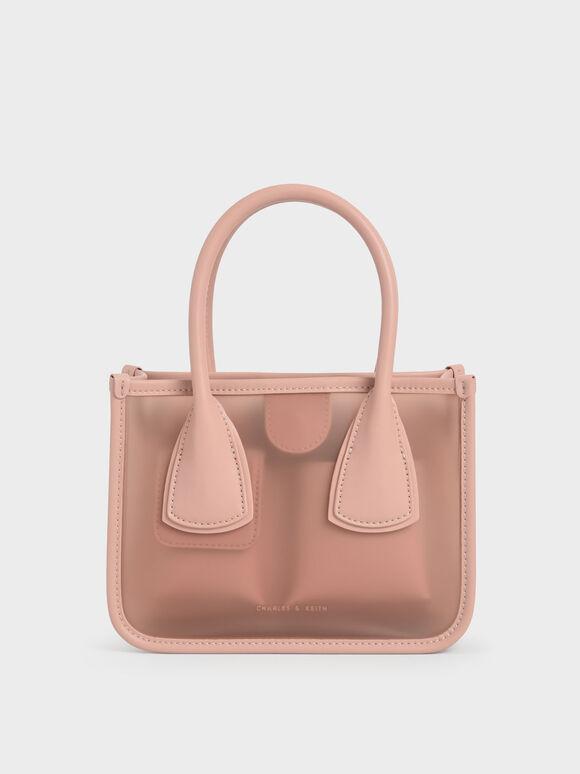 Chain Link Double Handle Bag, Blush, hi-res