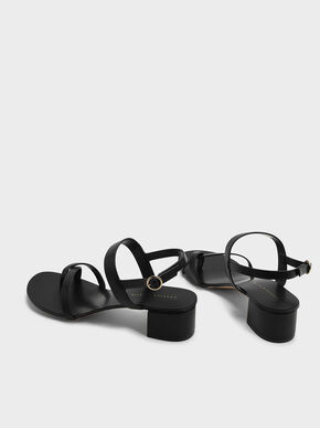 Crossover Toe Strap Sandals, Black, hi-res
