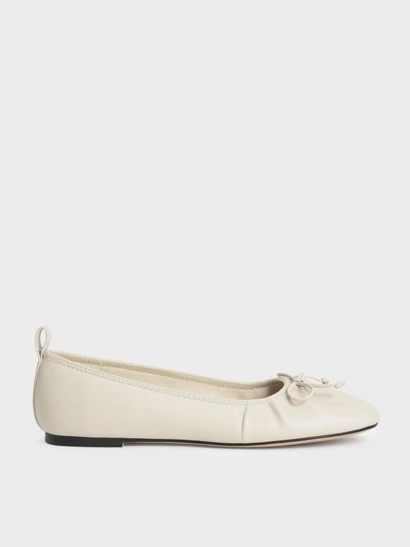 Bow-Tie Ballerina Flats, Chalk, hi-res