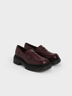Chunky Sole Penny Loafers, Burgundy, hi-res