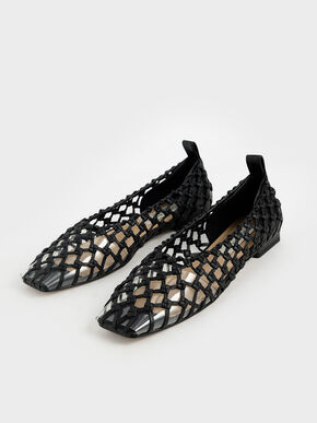 Limited Edition: Woven Caged Ballerina Flats, Black, hi-res