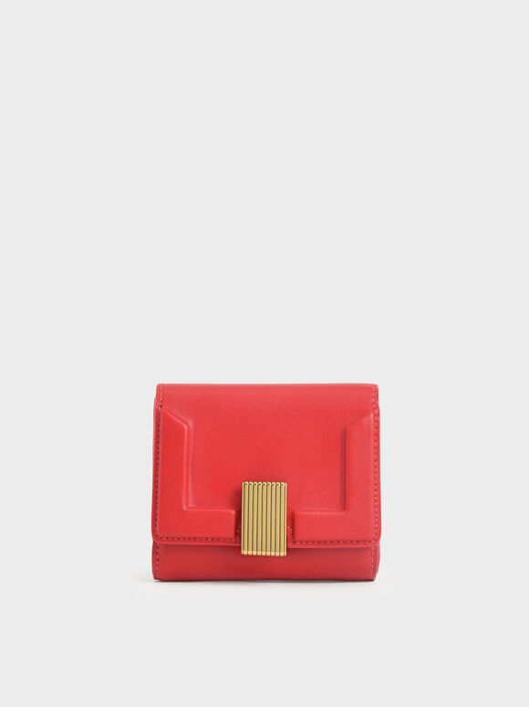 Metallic Turn-Lock Short Wallet, Red, hi-res