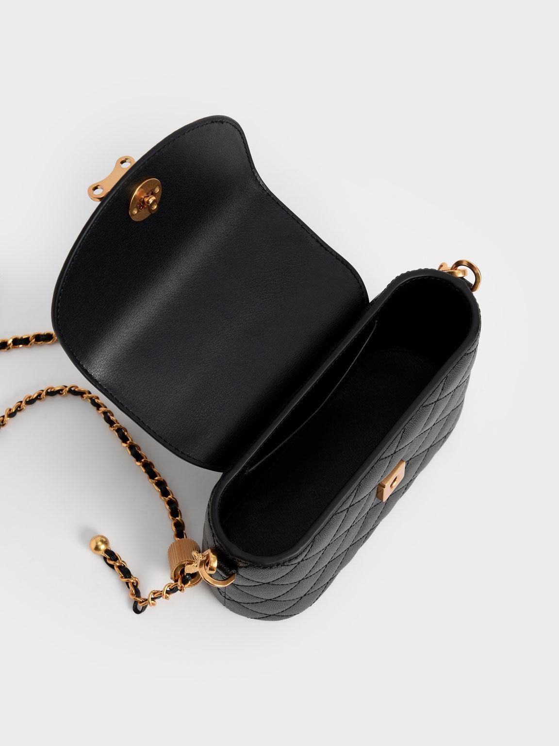 Top Handle Circle Bag, Black, hi-res