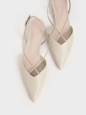 Strappy Ballerina Slingback Flats, Chalk, hi-res