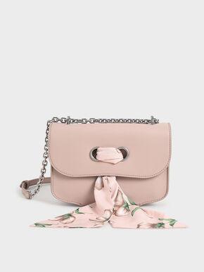 Chiffon Scarf Double Strap Shoulder Bag, Pink, hi-res