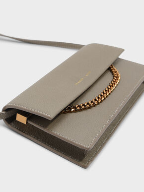 Chain Detail Long Wallet, Taupe, hi-res