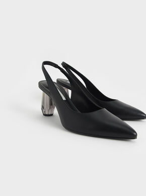 Sculptural Heel Slingback Pumps, Black, hi-res