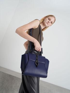 Chain-Link Trapeze Bag, Dark Blue, hi-res