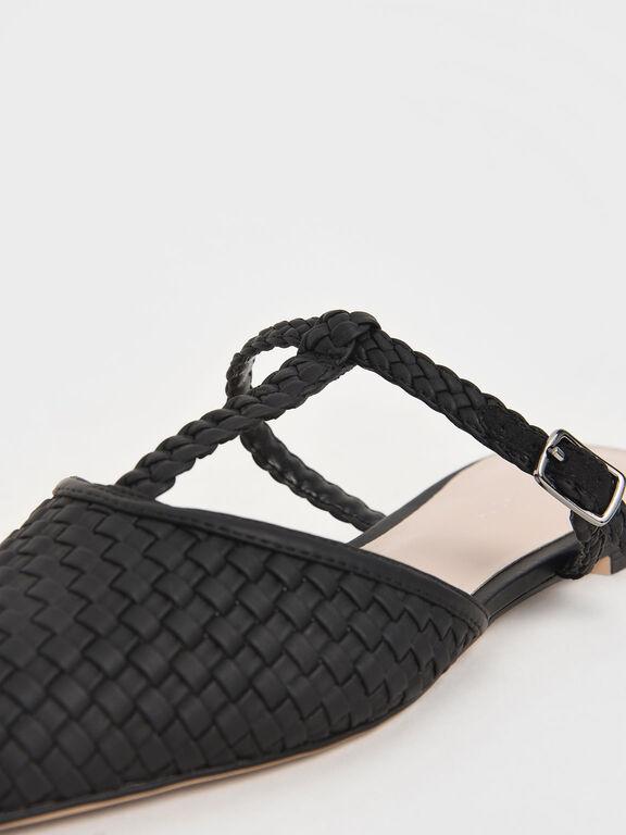 Woven T-Bar Flats, Black, hi-res