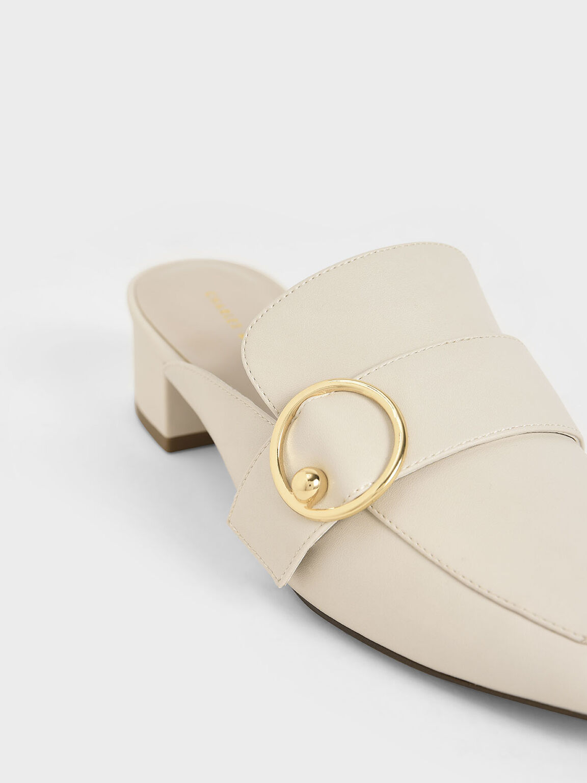 Ring Embellished Loafer Mules, Chalk, hi-res