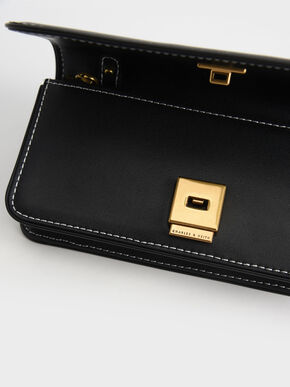 Push-Lock Long Wallet, Black, hi-res