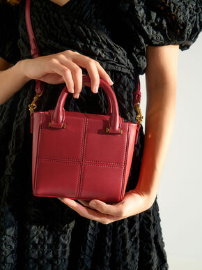 Textured Panelled Top Handle Bag, Red, hi-res