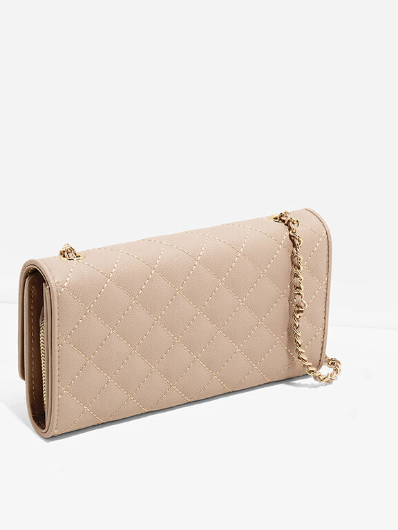 Mini Chain Handle Quilted Wallet, Nude, hi-res