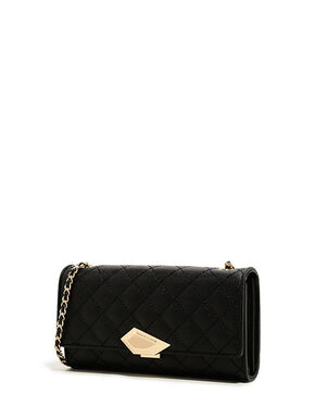 Mini Chain Handle Quilted Wallet, Black, hi-res