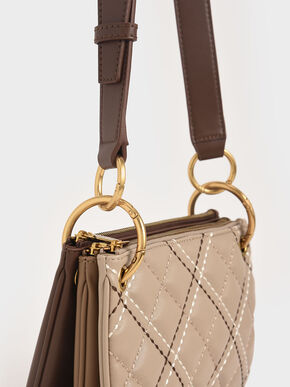 Quilted Metallic Handle Crossbody Bag, Sand, hi-res