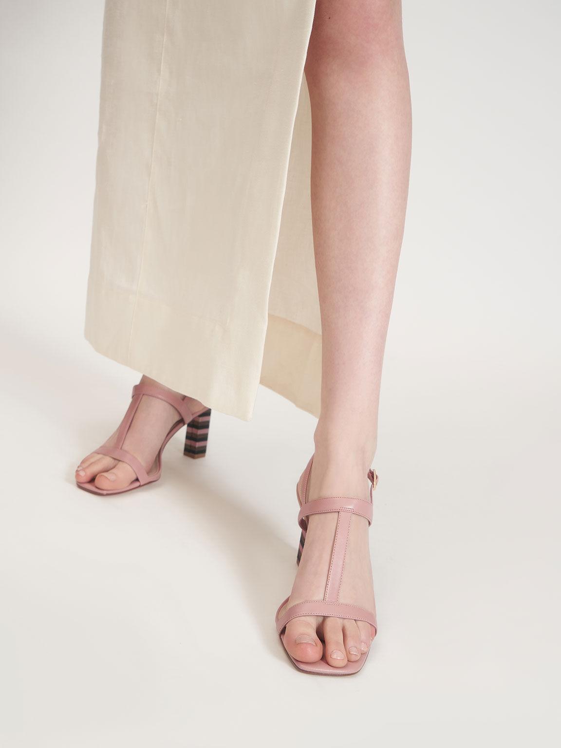 Strappy Block Heeled Sandals, Pink, hi-res