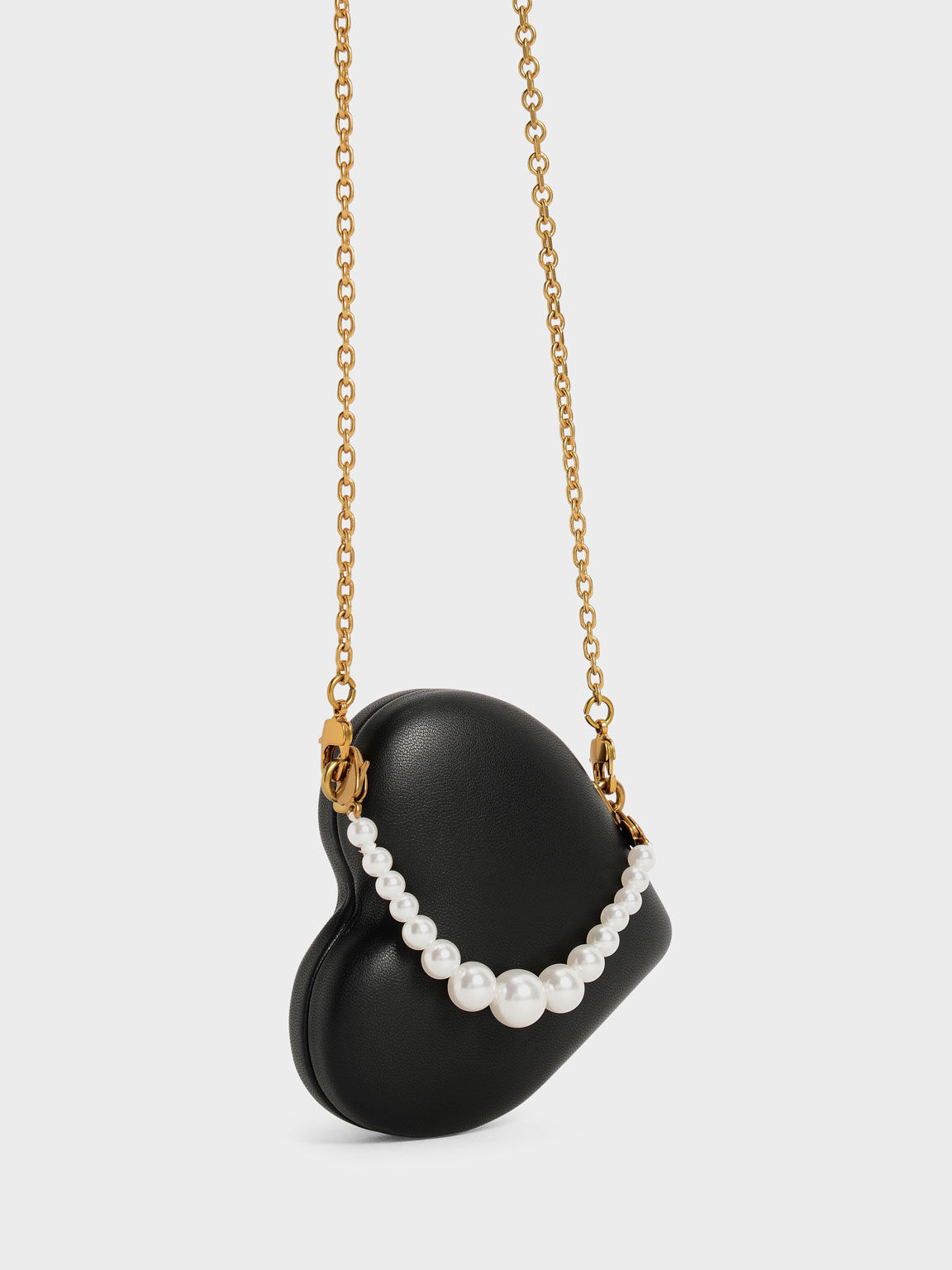 Beaded Handle Heart Pouch, Black, hi-res