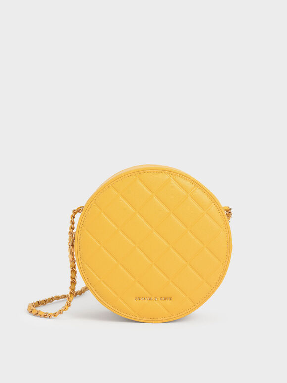 Quilted Circle Bag, Yellow, hi-res