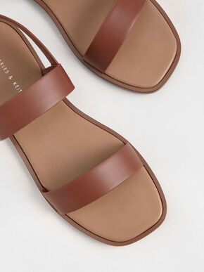 Buckle Ankle Strap Flat Sandals, Brown, hi-res