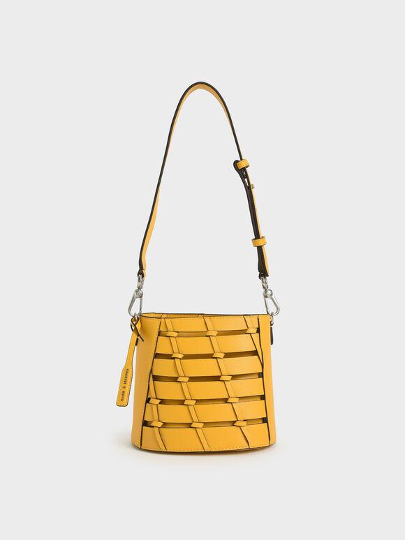 Braided Bucket Bag, Yellow, hi-res