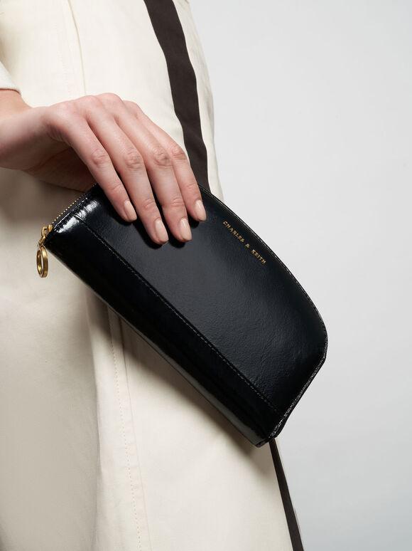 Curved Mini Long Wallet, Black, hi-res