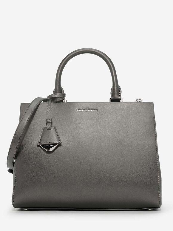 Classic Structured Handbag, Pewter, hi-res