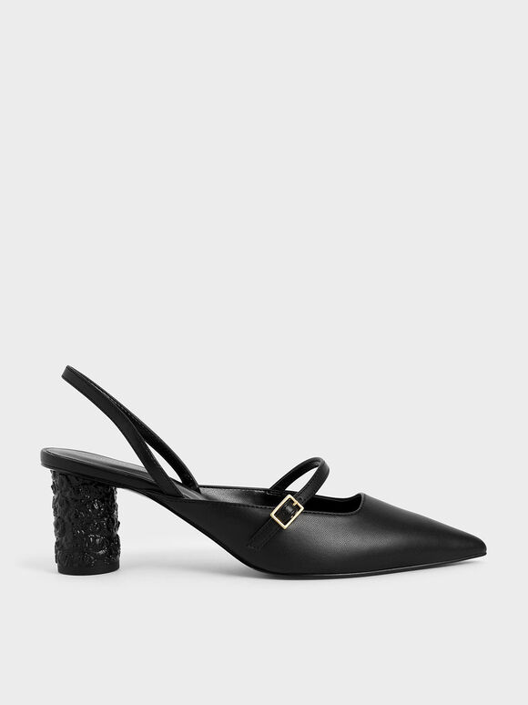 Embossed Heel Slingback Pumps, Black, hi-res