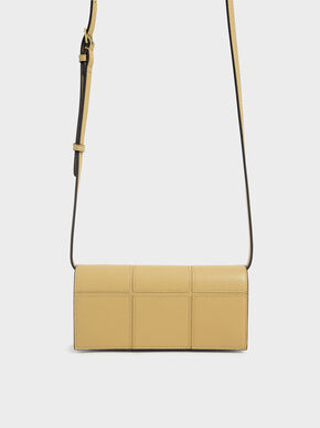 Panelled Long Wallet, Yellow, hi-res