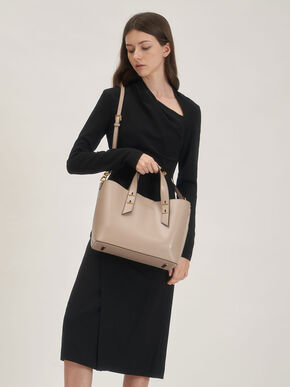 Double Handle Hobo Bag, Sand, hi-res