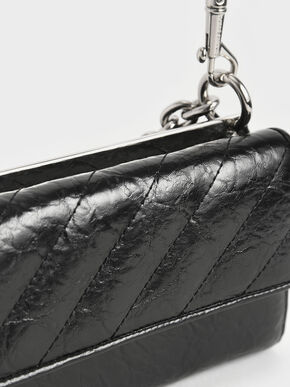 Panelled Chain Handle Wallet, Black, hi-res