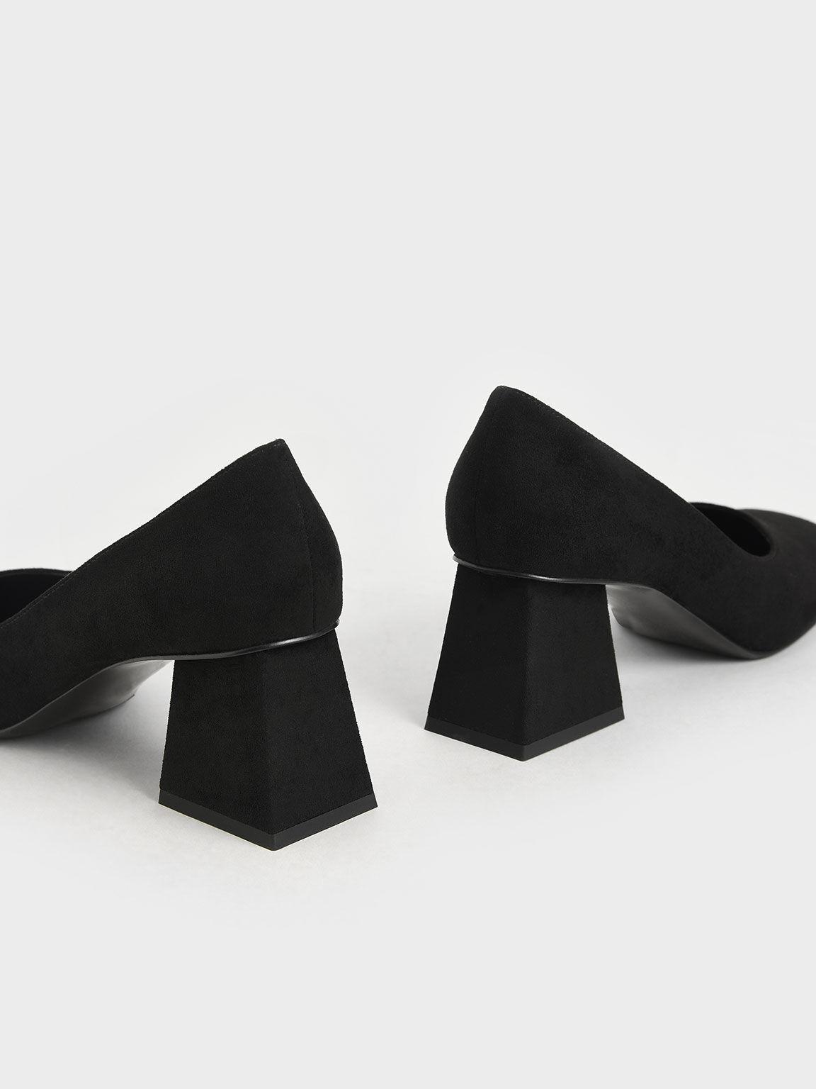 Textured Trapeze Heel Pumps, Black, hi-res