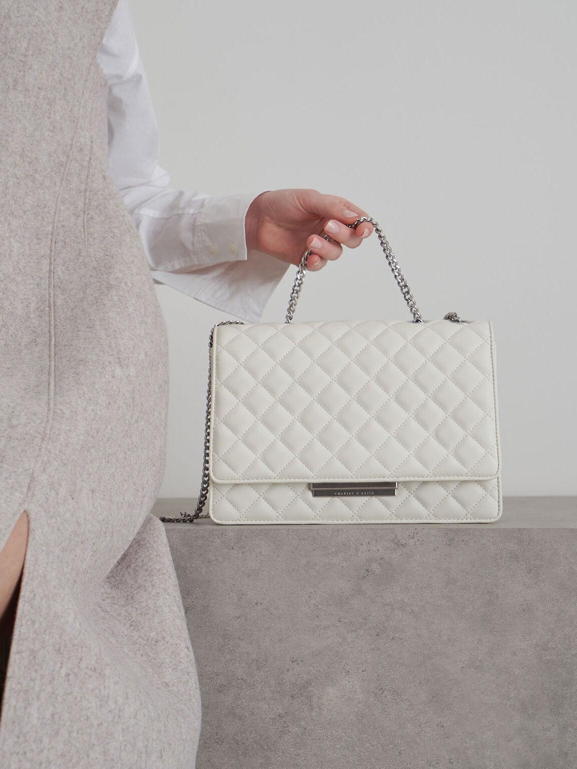 Quilted Chain Strap Shoulder Bag, White, hi-res