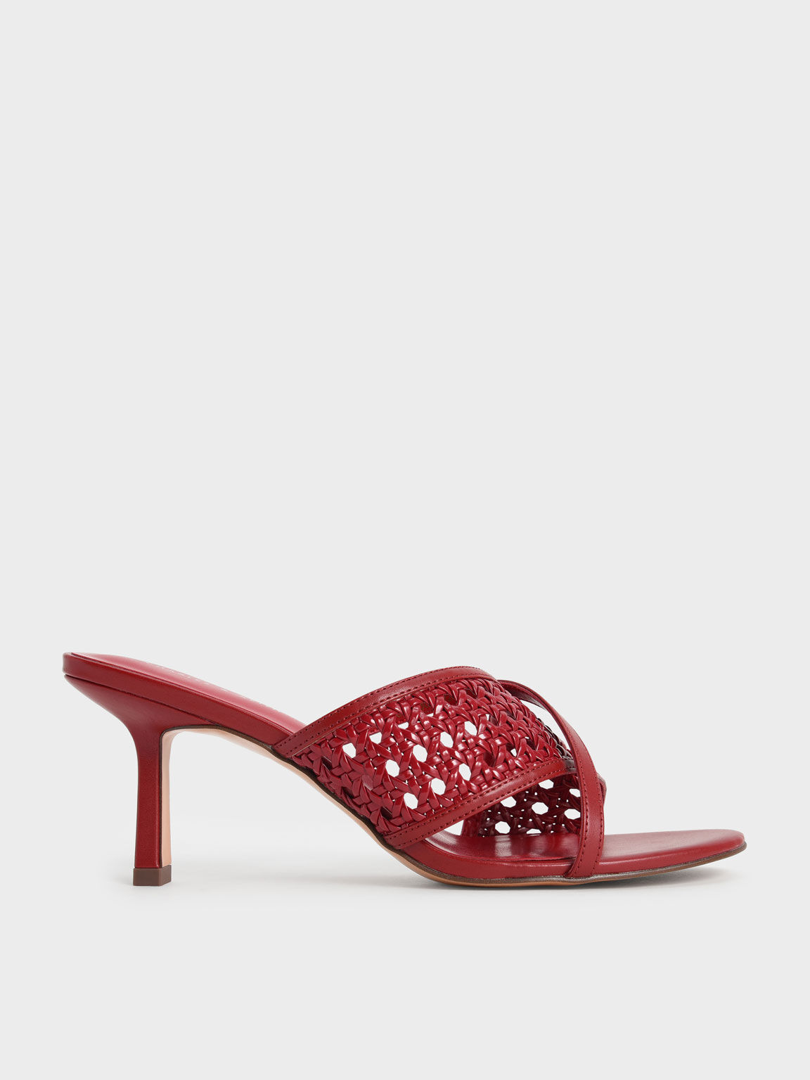 Asymmetric Woven Strap Mules, Red, hi-res