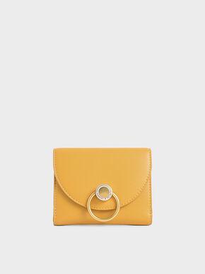 Ring Push-Lock Mini Wallet, Yellow, hi-res