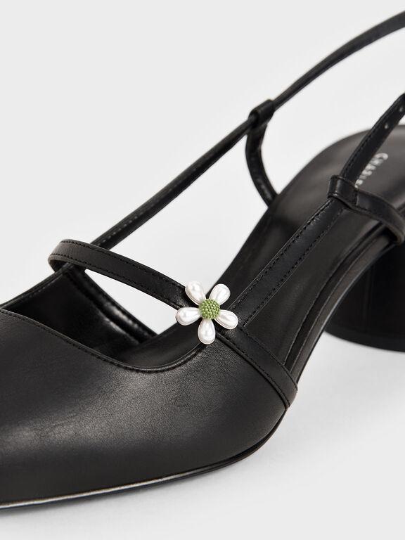 Flower-Embellished Slingback Mary Janes, Black, hi-res