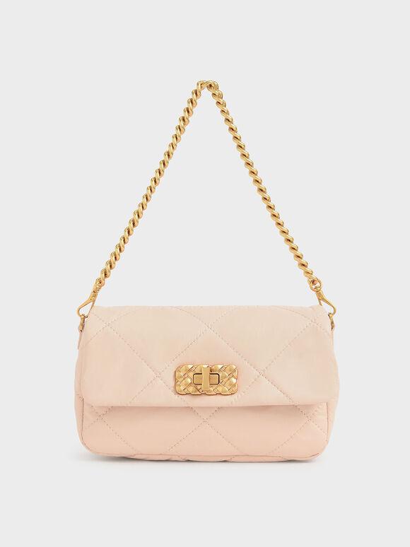 Puffy Metallic Turn-Lock Crossbody Bag, Light Pink, hi-res