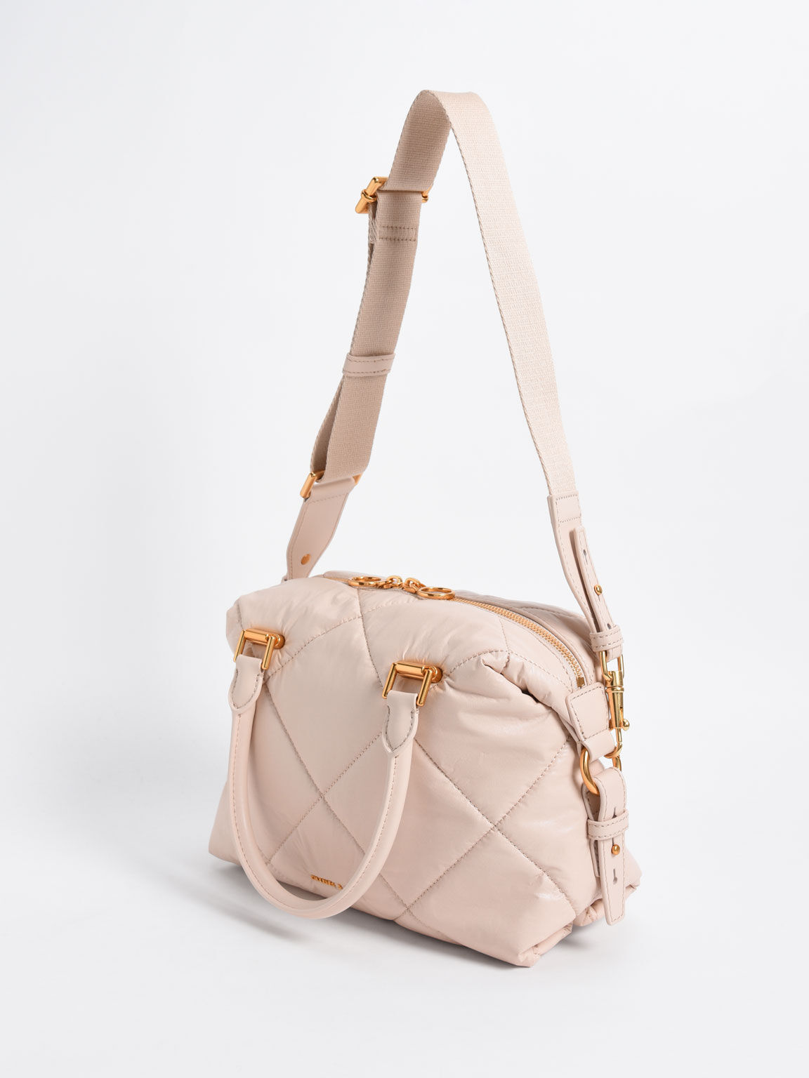Puffy Quilted Tote Bag, Light Pink, hi-res
