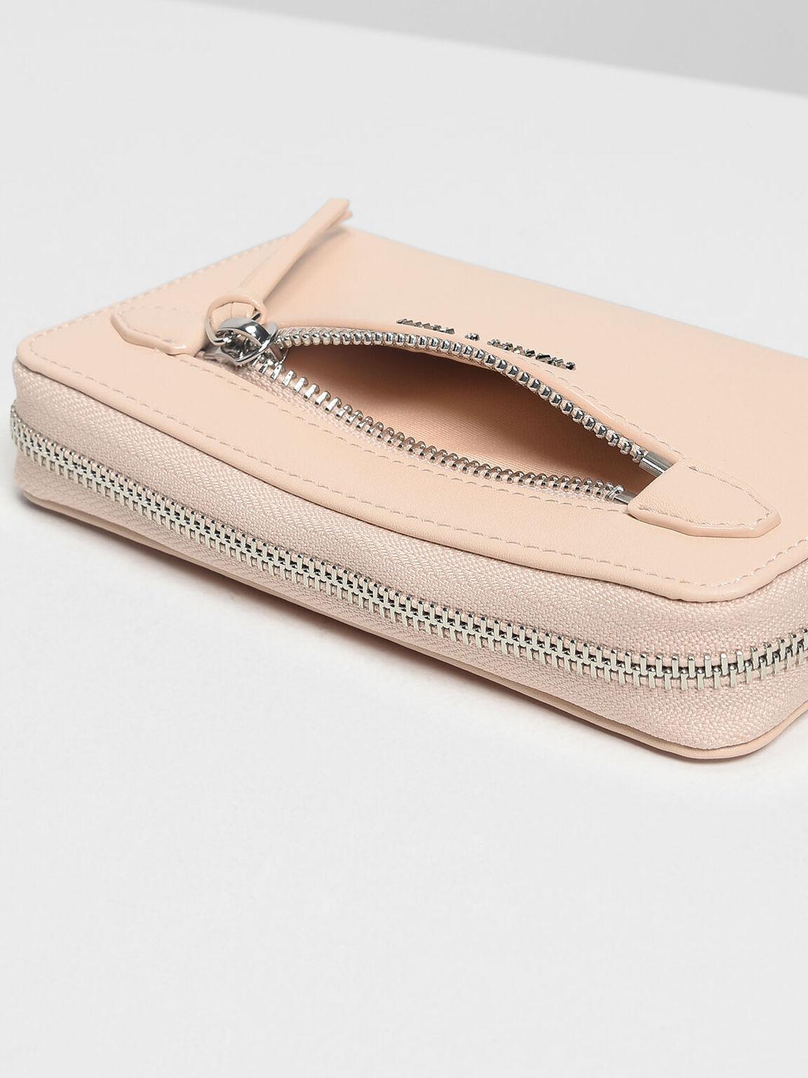 Zip Detail Wristlet, Pink, hi-res