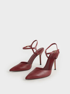 Ankle Strap Stiletto Pumps, Burgundy, hi-res