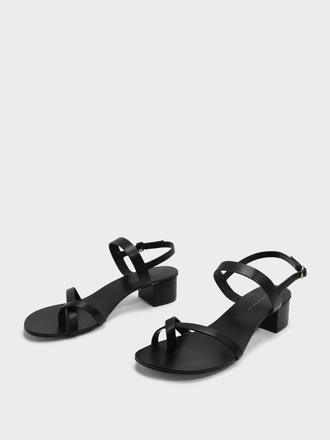 Crossover Toe Strap Sandals, Black, hi-res