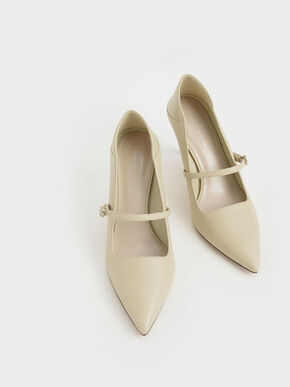 Mary Jane Stiletto Pumps, Beige, hi-res