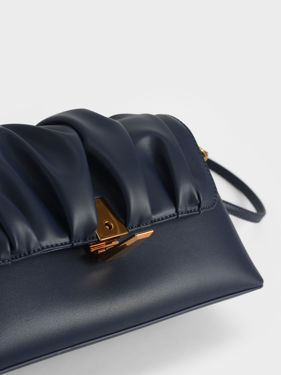Beaded Strap Ruched Trapeze Bag, Navy, hi-res