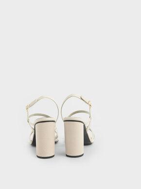 Snake Print Slingback Heeled Sandals, Animal Print Natural, hi-res