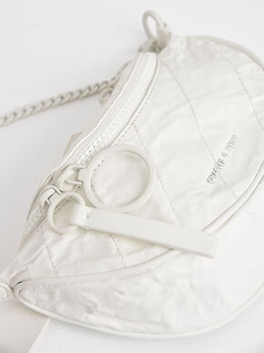 Half Moon Crossbody Bag, White, hi-res