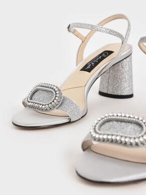 Wedding Collection: Glitter Embellished Heeled Sandals, Silver, hi-res