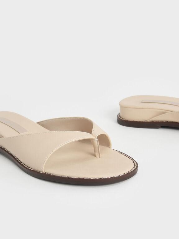 Stitch Trim Thong Sandals, Chalk, hi-res