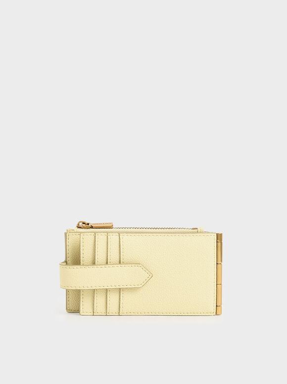 Zip & Snap Button Card Holder, Butter, hi-res