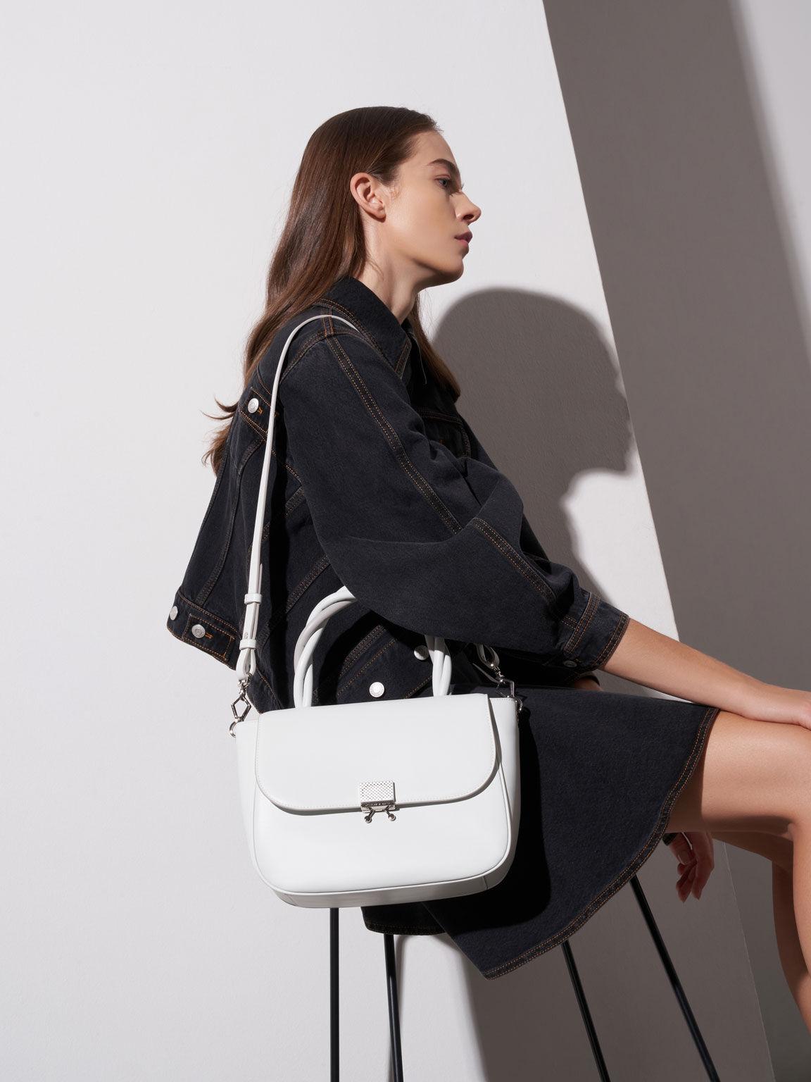 Twist Top Handle Bag, White, hi-res