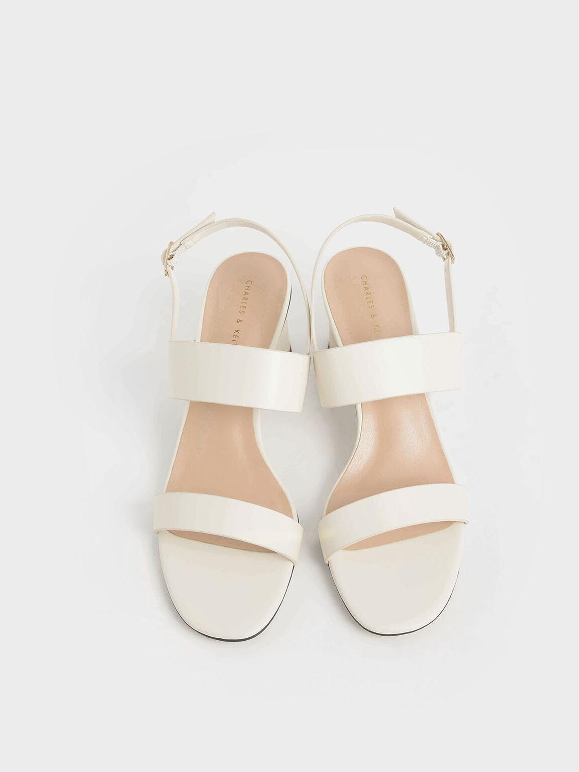 Cylindrical Heel Sandals, Chalk, hi-res